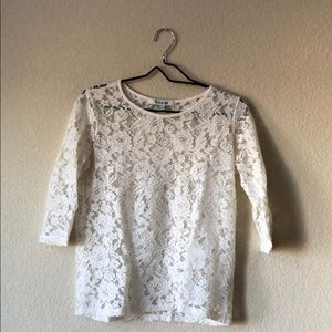 Forever 21 White lace long sleeve top